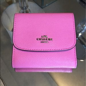 Coach Neon Pink Small Leather Wallet